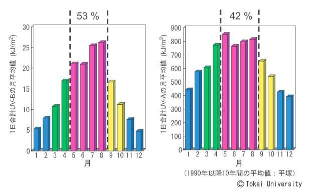 UV-AとUV-Bの量