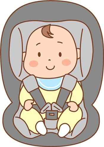 チャイルドシートに座った赤ちゃん