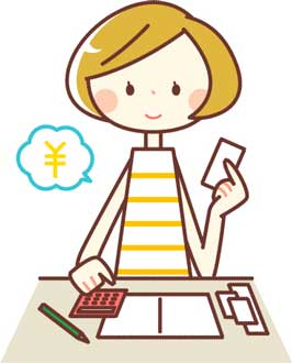 家計簿をつける女性