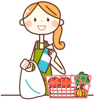 スーパーで食材を買う女性