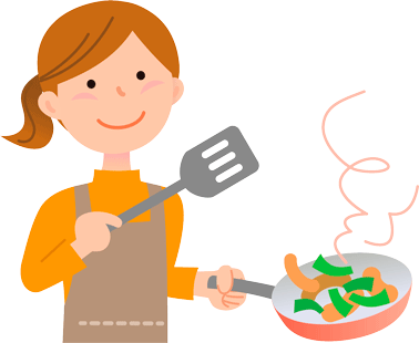 テフロン加工のフライパンで料理する女性