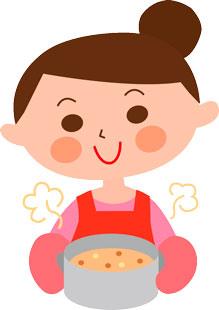 カレー鍋を持つ女性