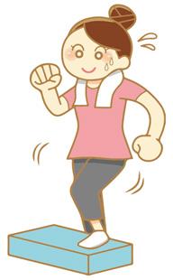 踏み台昇降運動をする女性