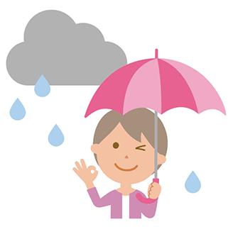 日傘を雨傘として兼用する場合